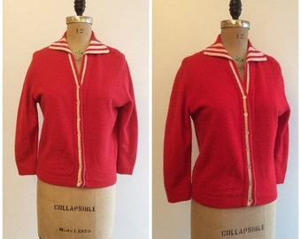 SALE Vintage 1950s Red Sweater 50s Cardigan Lambs Wool Fully Fashioned
