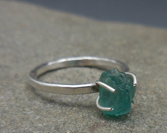Raw Natural Organic Blue Apatite Prong Ring Sterling Silver Raw Stone Blue-Green Handmade  Jewelry Jewellery Silver also available in Gold