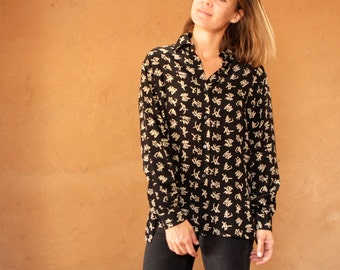 vintage SILK black & cream ALL OVER print long sleeve unique button up down