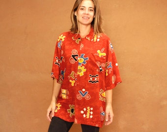 BATIK versace style 90s in living color SLOUCHY oversize floral grunge blouse shirt