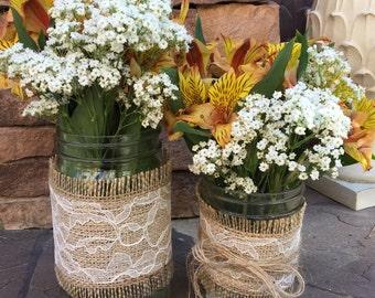 Mason Jar Wrap, Burlap & Lace Mason Jar Decoration, Wedding, Shower, Party, Centerpiece, Decoration