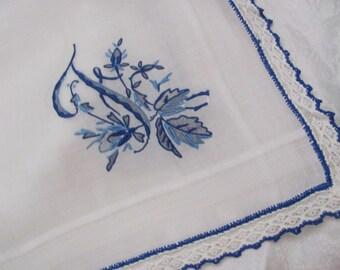 Solid White Blue Madeira Lace Trim Cotton Hankie Monogrammed F