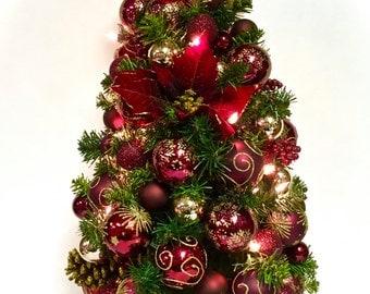 "Elegant Tall Table Top Christmas Pine Tree Burgundy Poinsettia w/Gold Pre-lit Wt Lights 30"" Bow Tree Topper SHATTERPROOF ORNAMENTS"