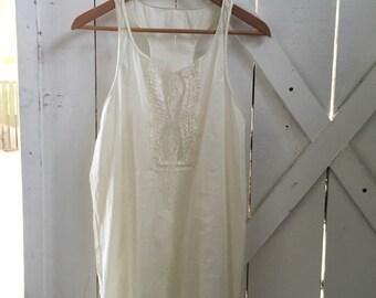 Dreamy & delicate 1970s vintage semi sheer gauzy cotton boho tunic dress xs-m