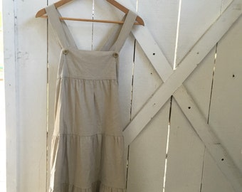 Super cute vintage empire tiered ruffle pinafore romper dress xs/s