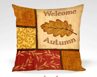 Welcome Autumn Decorative Pillow -Halloween, Thanksgiving, Fall, Home Decor, Orange, Black, Gold, Full Inserted Pillow