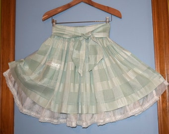 Mint Green Half Apron - Vintage fabric