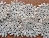 8 Beige Colored Vintage Crocheted Coaster Sized Doilies, Crocheted Appliques