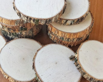 12 Rustic Wood Slices, Natural Hand Cut Wood Rounds for Wedding, Ornaments, Name Place Markers
