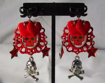 Love Skulls Red Cameo Earrings