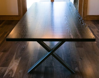 "Ebonized Oak and Powder-coated Steel Extension Dining Table, Notched ""X"" Legs, Custom ""Graphite"" Project"