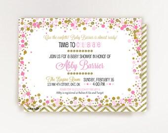 Pink and Gold Confetti Baby Shower Invitation - Printable Invitation