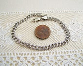 Italian Sterling silver double link charm starter bracelet, 5 mm wide, 8 inches long