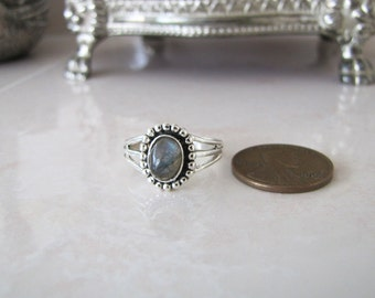 Little Labradorite Sterling Silver Ring, size 6.25