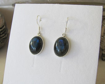 Oval Labradorite Sterling Silver Earrings