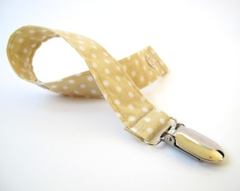 Tan/ Beige Pacifier Clip - Baby Stocking Stuffer - Small Baby Gift