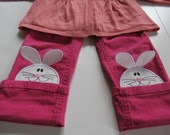Walking loving bunny awesome kids trousers bottoms decorations - machine embroidery applique designs ITH In the hoop project