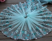2 Yards Lace Trim Exquisite Flowers Embroidered Cyan Tulle Lace 8.66 Inches Wide High Quality