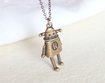 Vintage style Robot Necklace - S2351-2