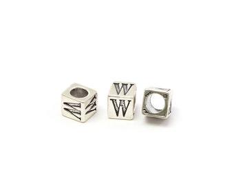 Alphabet Beads Sterling Silver 6mm Alphabet Blocks W - 1pc (3216)/1
