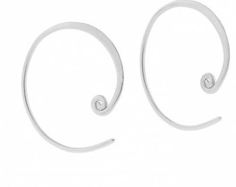 Sterling Silver 18mm Curled Hoop Earring Finding - 1pair 15% discounted (4424)/1