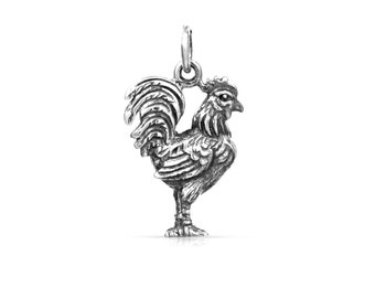 Sterling Silver 21x12mm Rooster Charm - 1pc 10% discounted High Quality Shiny Charms (5971)/1