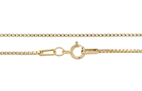 14kt Gold Filled 1mm 22 Inch Box chain with spring ring clasp - 1pc Finished Box Chain (3074)/1