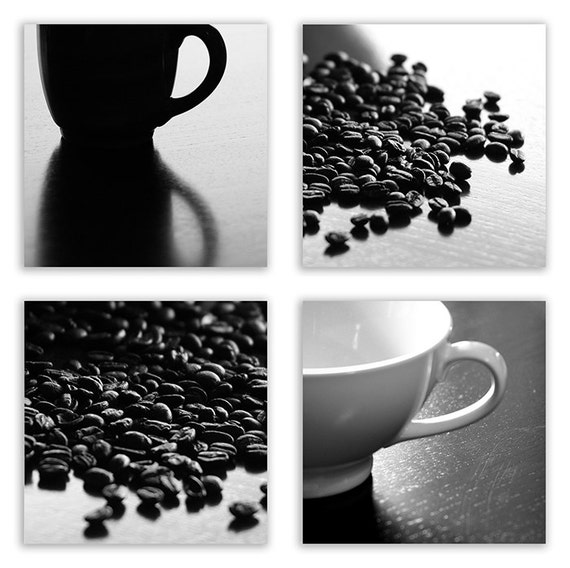 Coffee Photo Collection - coffee art, kitchen decor, home decor, coffee prints - Set of 4 - Fine Art Photographs B&W or Sepia