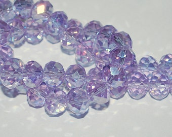 12 pcs 10x8mm Lavender Lilac Periwinkle AB Rondelle Glass Beads TLP/AB