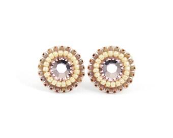 Blush stud earrings   blush crystal tiny stud earrings   ivory blush wedding earrings   blush bridesmaid earrings   romantic blush studs