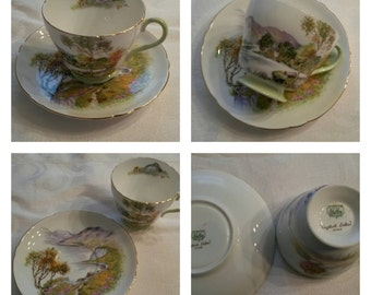 "Shelley Cup & Saucer Titled ""English Lakes"" circa 1925-1940-  DR"