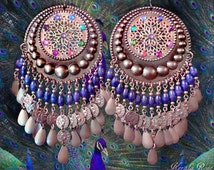 Large Exotic Moroccan Hippie Medallion Earrings, Color Choices!, Huge Bohemian Gypsy Hoop, Coins, Swarovski Rainbow Chakra, Lightweight!