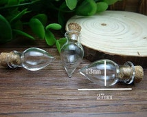 10 pcs 27x13mm Transparent Glass  Wishing Bottles Tear Drop  Shape