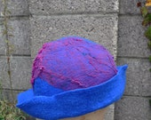 BIG SALE - Felted hat, cap, wool, felting, turquoise, blue, pink, silk