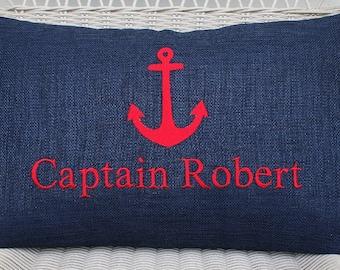 Anchor Captain / Boat Name Outdoor Pillow Cover in Indigo Navy Blue