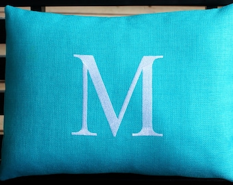 Monogrammed Indoor Outdoor Pillow Initial Cover in Aqua  | Personalized | Alphabet | Embroidered | Wedding