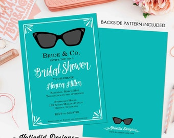 bridal shower invitation bachelorette hen party wedding invite breakfast at tiffanys rayban turquoise evite couples coed bash (item 311)
