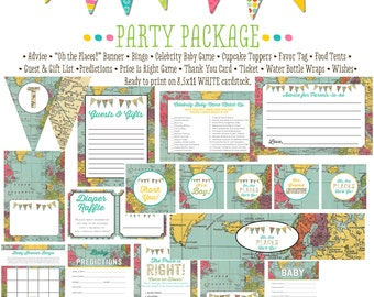 world map baby shower Travel Themed oh the places you'll go Adventure Awaits party package gender reveal party game 1294 Katiedid Designs