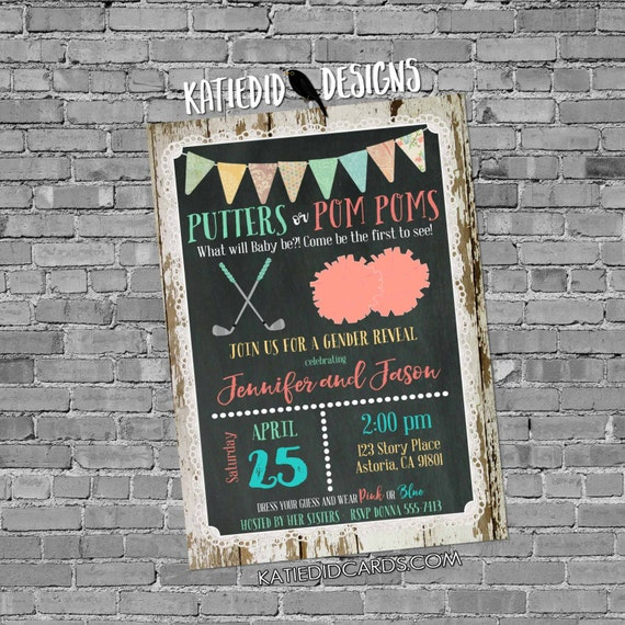gender reveal invitation putters pompoms golf lace cowboy wood bunting chalkboard gender neutral baby shower 1470 shabby chic invitations