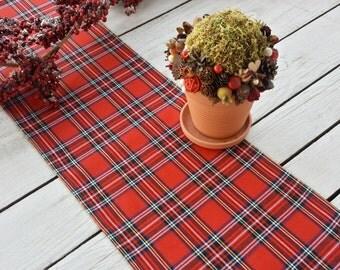 Christmas Table Runner   Plaid , Tartan, Check, Red , Black, Gold,