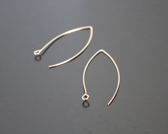 Rose Gold Plated Ear Wire linear Hooks fishhooks Earring Findings,  5 pairs, B911506