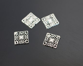 Silver Oriental Squares Connectors, Pendants, 2 pc, KG811284