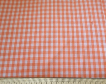 "2  Yards Orange and White Gingham Small Check Cotton Fabric 44"" Wide"