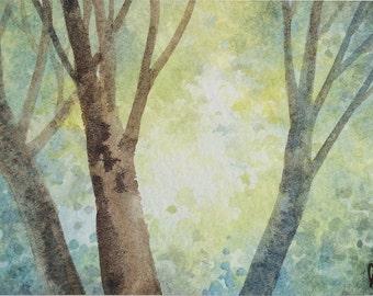 Original watercolor ACEO painting - Sunlit canopy