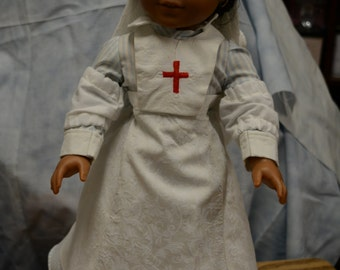 18 in doll clothes WWII nurse uniform dress head scarf apron sleeve protectors historic