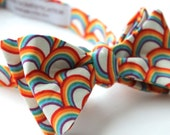 Rainbow Bow Tie - Groomsmen and wedding tie - clip on, pre-tied with strap or self tying - LGBTQ Pride