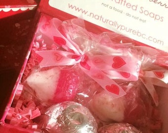 Valentine's Day : Chocolate Soap Box, Chocolate Covered Cherry Truffles, Strawberries, Organic Soap, Novelty, Gifts, Soap