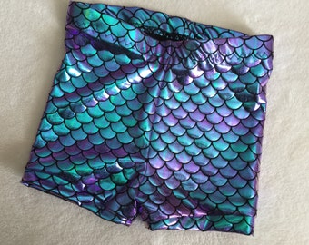 girls Mermaid Shorts Baby Toddler Turquoise and Purple two tone teal Birthday 3 6 12 18 24 months 2T 3T 4T 5T 6 7 8 9 10 11 12 14 shorties