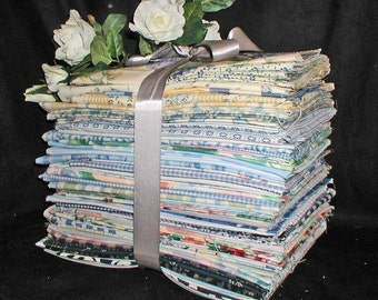 HUGE Lot of 57 Different Decorating Fabric Scraps & Samples in Blues - Florals Stripes Plaids Checks, etc.