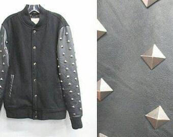 Vintage 90's wool studded jacket L / XL black puffer